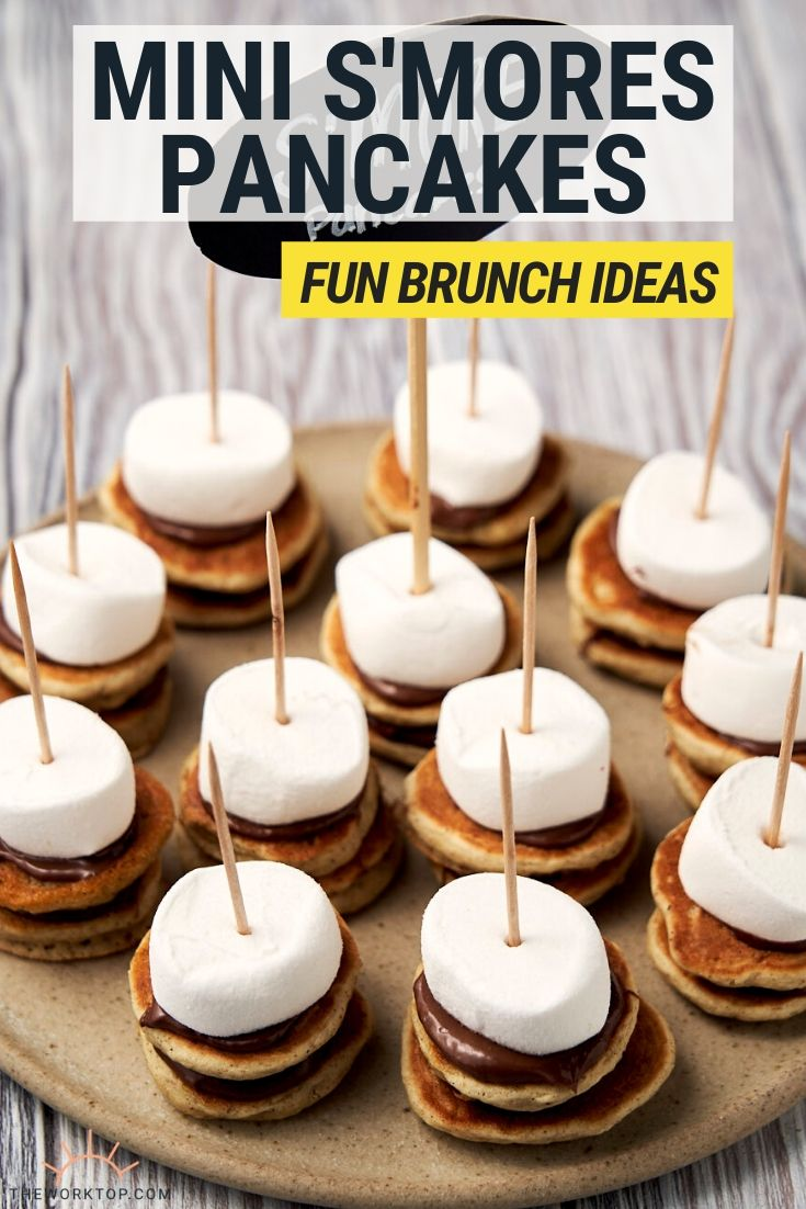 Mini S'mores Pancakes made with Nutella and served on skewers for brunch   The Worktop