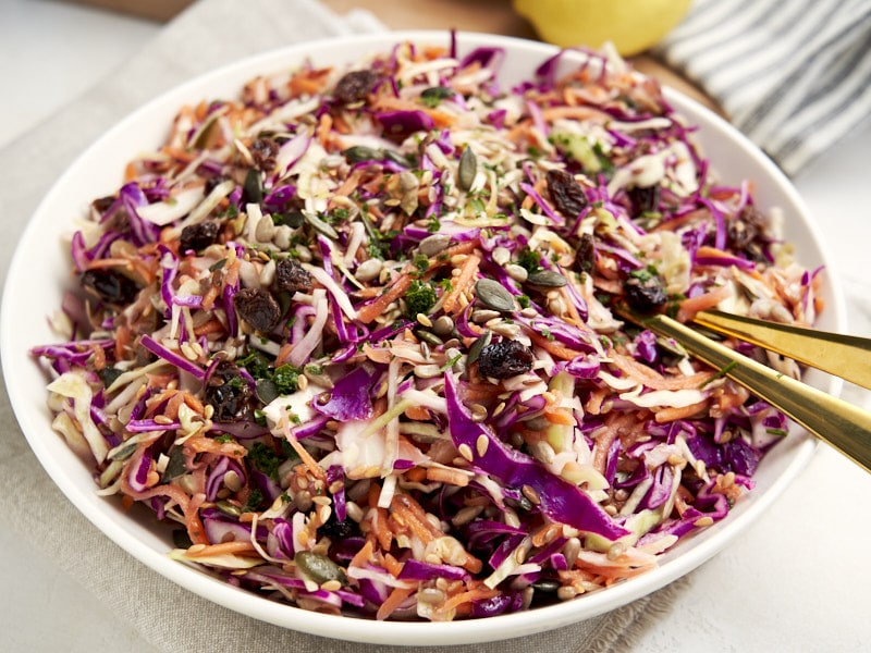No Mayo Coleslaw - made with purple cabbage on big serving plate | The Worktop