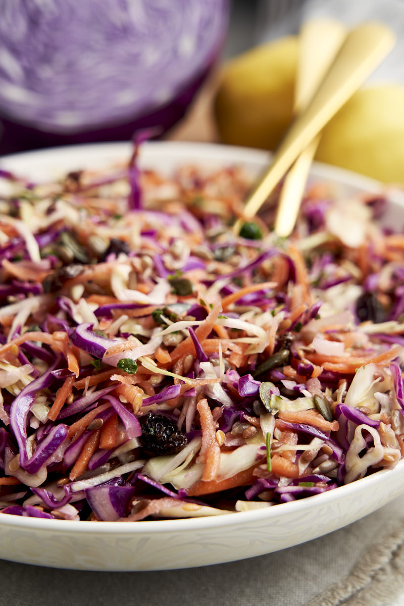Purple Cabbage Slaw - on serving platter, close up | The Worktop
