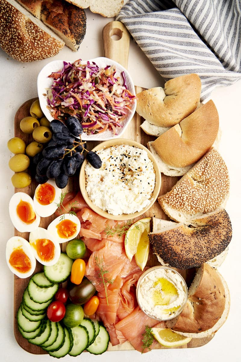 Smoked Salmon Brunch Board - overhead shot with bagels, eggs, cream cheese, purple cabbage slaw | The Worktop