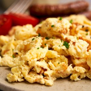 Scrambled Eggs with Cottage Cheese - close up to show soft texture | The Worktop