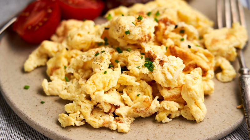 Scrambled Eggs with Cottage Cheese - close up to show soft texture of eggs | The Worktop
