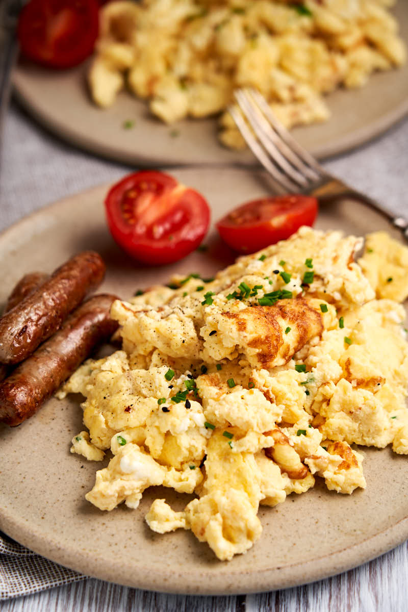Scrambled Eggs with Cottage Cheese - plated for breakfast | The Worktop
