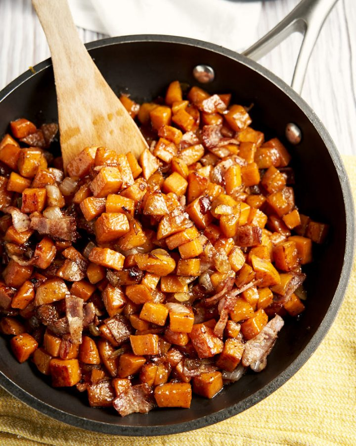 Sweet Potato Hash - in big skillet to be served for breakfast | The Worktop