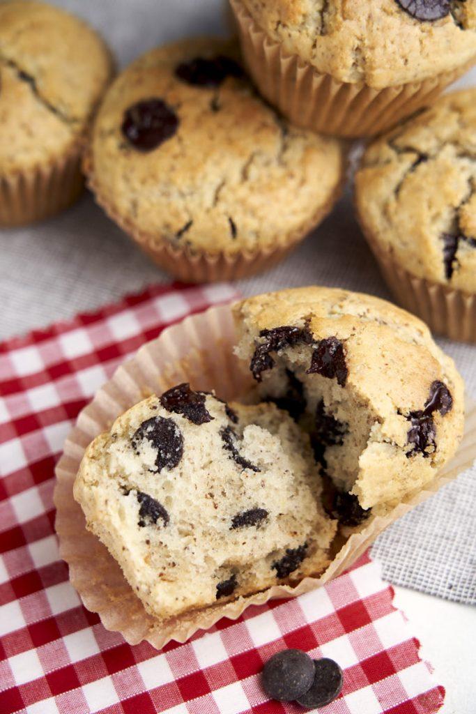 Best Vegan Chocolate Chip Muffins - broken to show moist and fluffy texture | The Worktop