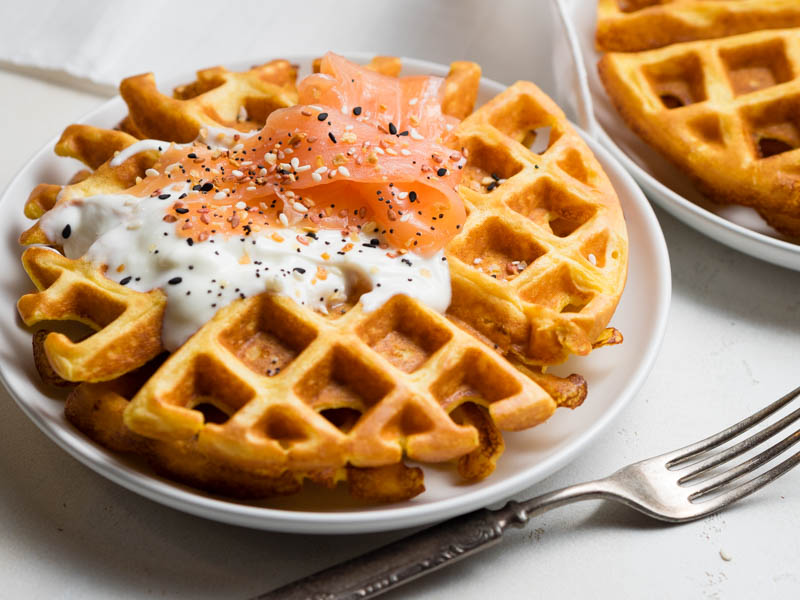 Cottage Cheese Waffles - high protein - stack of waffle with smoked salmon topping | The Worktop