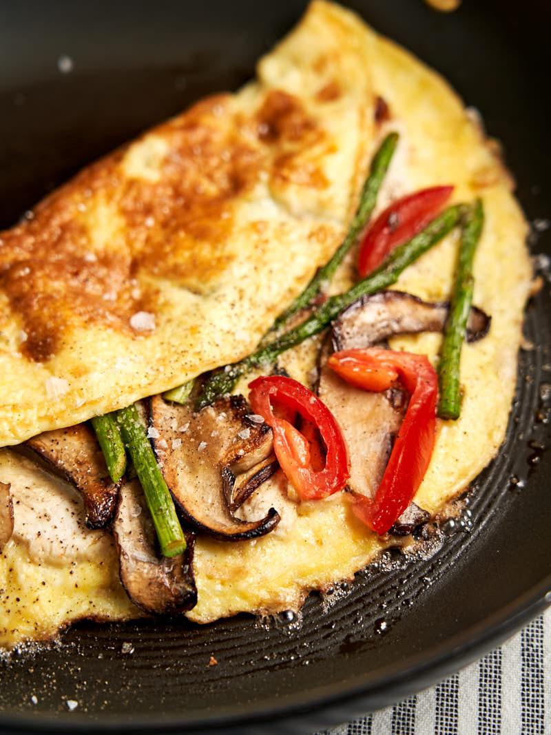 Leftover Chicken Omelette - on frying pan folded in half | The Worktop