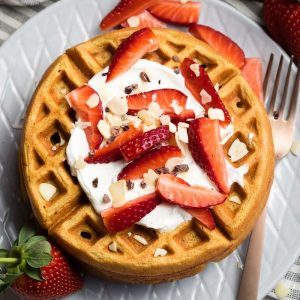 Healthy Waffle Recipe - overhead with strawberries and Greek yogurt | The Worktop