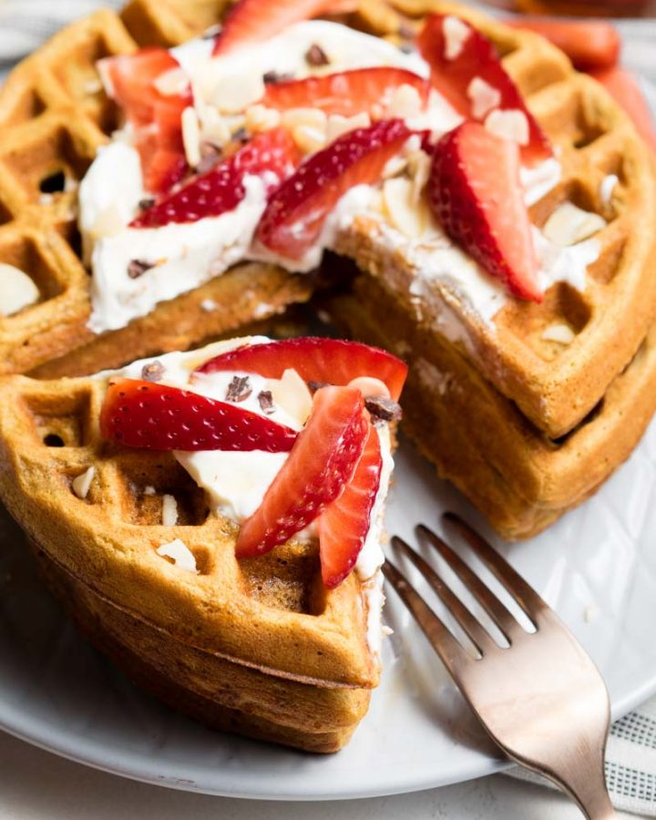 Healthy Waffle Recipe - stacked and cut with Greek yogurt | The Worktop