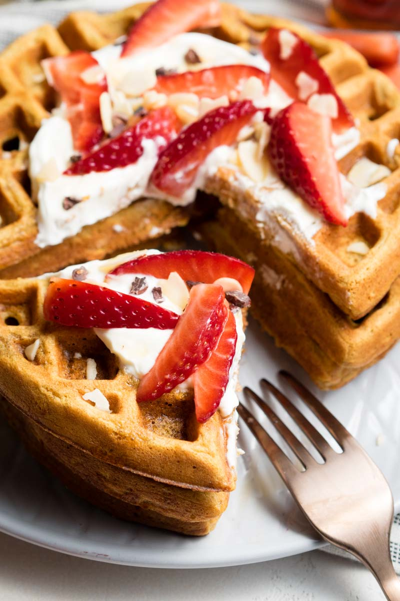 Healthy Waffle Recipe - stacked and cut | The Worktop