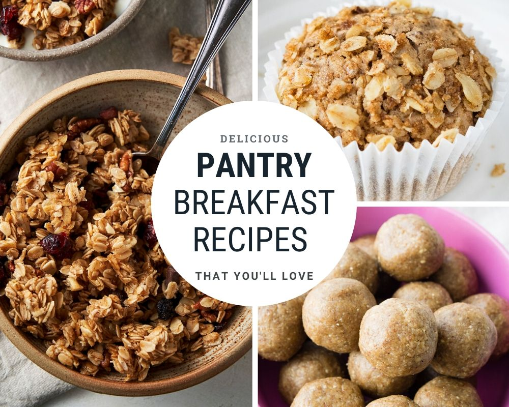 Pantry Breakfast Recipes -- Collage of 3 pantry breakfast ideas | The Worktop