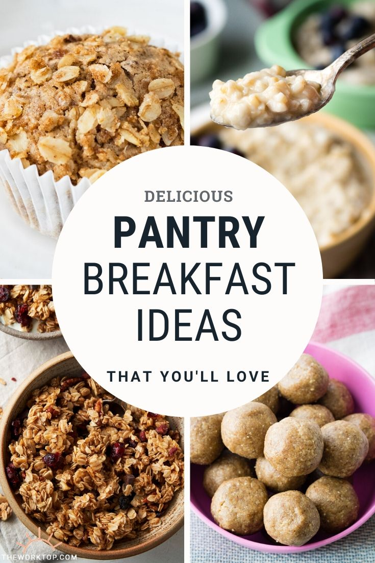Pantry breakfast ideas - collage of 4 different breakfast recipes made with pantry ingredients (and freezer ingredients) | The Worktop