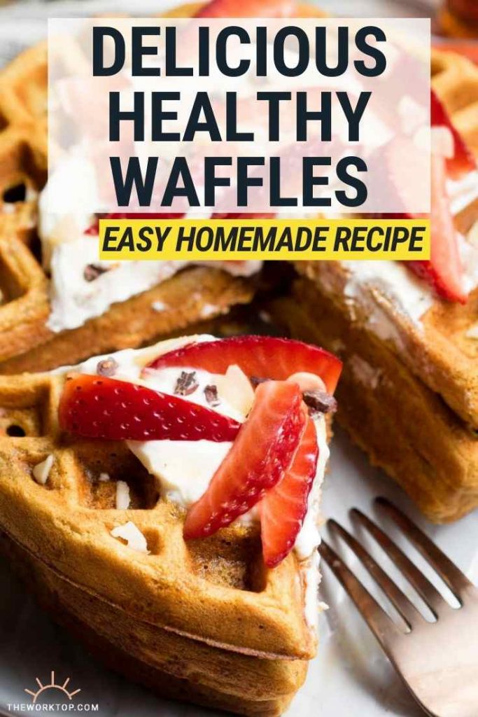 Healthy Waffles - a stack with greek yogurt and strawberries on top. | The Worktop